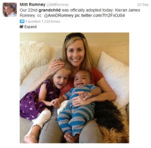 Romney's tweet of grandson Kieran